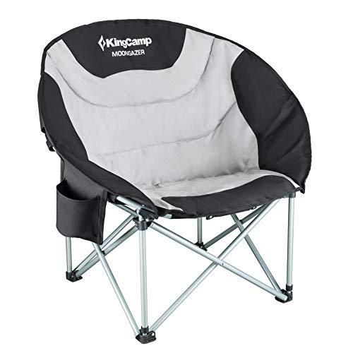 KingCamp Moon Saucer Leisure Heavy Duty Steel Camping Chair Padded Seat with Cooler Bag