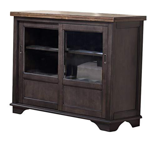 Kings Brand Emblem Grey Brown Wood Sideboard Storage Cabinet with Glass Sliding Doors