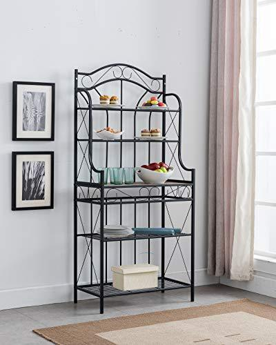Kings Brand Furniture - Black Metal/Faux Stone 5-Tier Kitchen Storage Bakers Rack