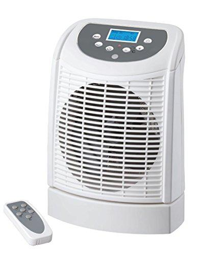 Kitchen Stars EASYHOME Portable Indoor Electric Fan Heater 2.2kW 2200w Thermostatic Temperature Function, Hot Air Fan with Oscillating Base + Remote Control + Digital LCD Display