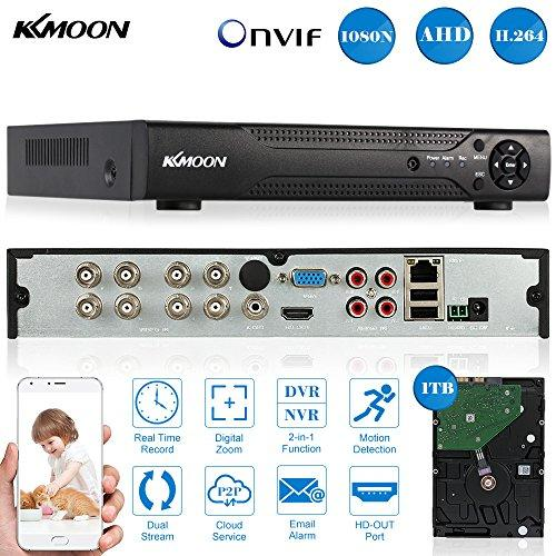 KKMOON 8CH Channel Full 1080N/720P AHD DVR NVR HDMI P2P Network Onvif  Digital Video Recorder + 1TB Hard Disk support Plug and Play Android/iOS  APP CMS