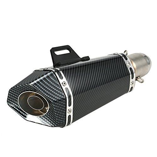 kkmoon Exhaust Pipe, 51 mm Replace Silencer Carbon Fiber Artificial Small Hexagon Style Motorcycle ATV Universal
