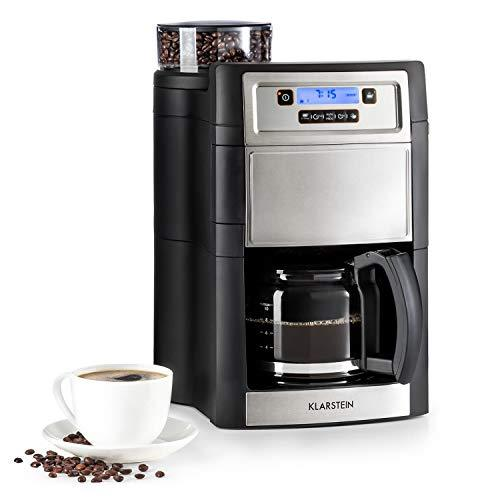 Klarstein Aromatica II Coffee Machine with Grinder • Filter Coffee Machine • 1000 Watt • 1.25 Liter Glass jug • 24-Hour Timer • hotplate • incl. Permanent and Activated Carbon Filter • Silver
