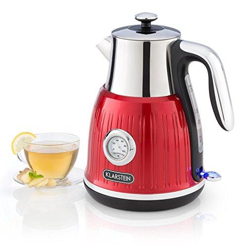 Klarstein Cancan Kettle • Tea Maker • Retro Electric Kettle • 1.6 L • 1800-2150 W • Retro Design • Flexible 360 ° Base • Real-time Temperature Display • Water Level Indicator • 70 cm Cable • Red