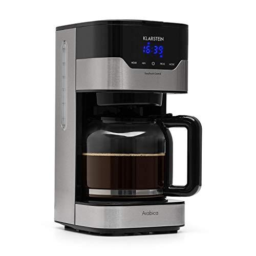 Klarstein Coffee Machine Arabica with Filter • Filter Coffee Machine • 900 Watt • EasyTouch Control • 1.5 L • up to 15 Cups • incl. Permanent Filter • Silver-Black