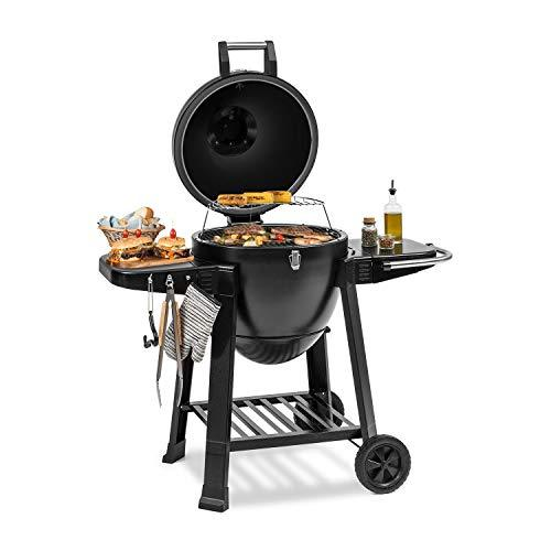 Klarstein Duomo Kamado Grill • For Grilling, Slow Cooking, Smoking or Baking • Storage for Barbecue Utensils • Materials: Powder-Coated Steel, Cast Iron and Ceramic • 0-350 ° C • Two Rollers