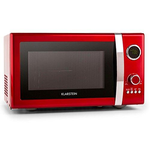 Klarstein Fine Dinesty • 2-in-1 Microwave • Microwave with grill • Retro design • Metal housing • 23 litre cooking chamber • 800 W microwave power • 1000 W grill power • Timer • 12 programs • Red
