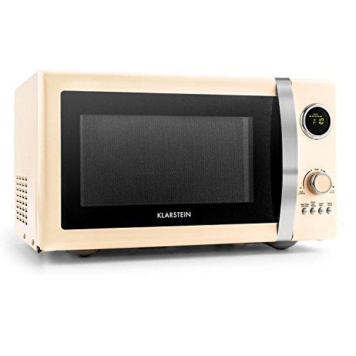 Klarstein Fine Dinesty Retro Microwave Oven • Grill Function • Display Timer • 12 Programmes • 800W Microwave • 1000W Grill • 3 Defrost Levels • 23 l • Viewing Window • Cream
