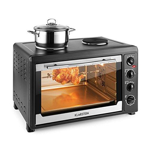 Klarstein Masterchef 60 • Mini Oven • Grill w/ Rotating Spit • 60L • 2 1600W Hobs • Temperature: Stepless 100-230 ° C • Top/Bottom Heat • Stainless Steel • Illuminated Interior • Timer • Black