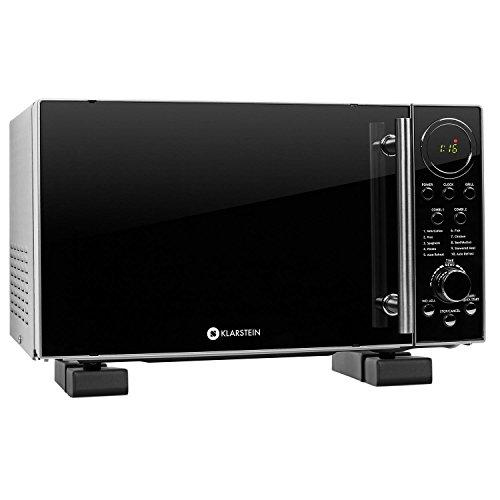 Klarstein Microwave Set Luminance Prime • 1 x 700W Microwave incl. Glass Turntable and Grill Grate • 20 litres • 12 Automatic Cooking Programs • 1 x Microwave Holder • LED Display • Timer • Black