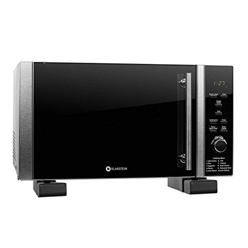 Klarstein Microwave Set Luminance Prime • 1 x 900W Microwave incl. Glass Turntable and Grill Grate • 28 litres • 12 Automatic Cooking Programs • 1 x Microwave Holder • LED Display • Timer • Black