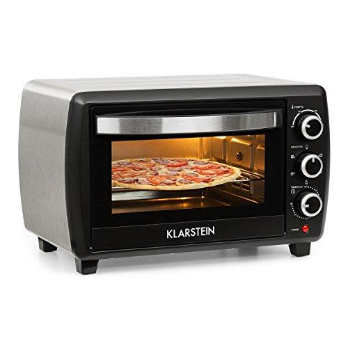 Klarstein Omnichef 20 2G Mini Oven • 1500 W • 20 Litres • 5 Functions • 3 Switches • Timer • 100° to 230° C • Baking Tray Rotisserie Spit and Grill • Easy Operation • Black