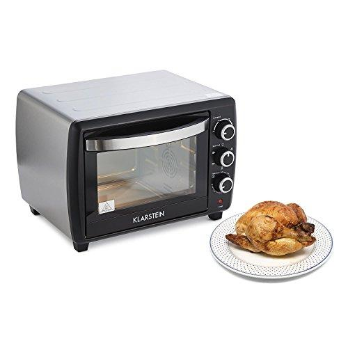 Klarstein Omnichef 30 2G Mini Oven • 1500 W • 30 Litres • 5 Functions • 3 Rotary Switches • Timer • 100° to 230° C • Baking Tray Rotisserie Spit and Grill • Easy Operation • Black
