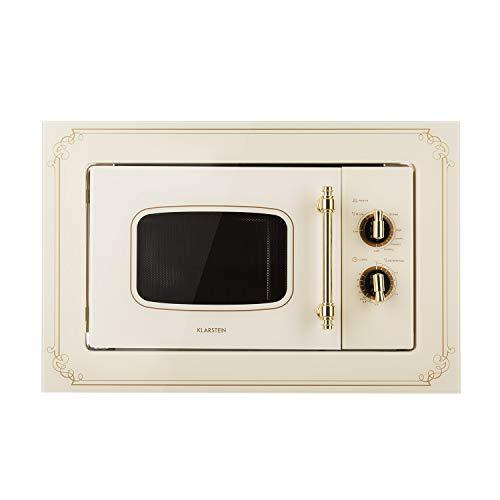 Klarstein Victoria 20 • Built-in Microwave • Retro Design • 20 litres • 800 Watt Microwave / 1000 Watt Grill Power • 3 Grill/Microwave Combo Functions • Stainless Steel • Mounting Frame • Ivory