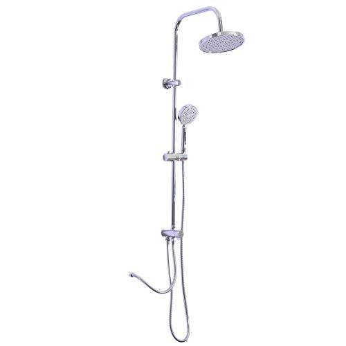 kleankin Bathroom Shower Mixer Set System Rainfall & Showerhead Stainless Steel Wall Mounted