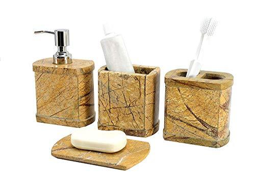 KLEO - Bathroom Accessory Set made from Natural Stone - Bath Accessories set of 4 includes Soap Dispenser, Toothbrush Holder, Toothpaste holder and Soap Dish (Brown Oval)
