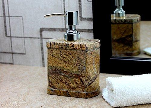 KLEO Soap Dispenser Lotion Dispenser - Made of Natural Stone in Brown Green Black White Color - Bathroom Accessories Bath Set (Brown Oval)