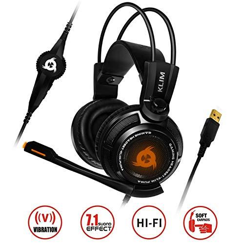 KLIM Puma - USB Gamer Headset with Mic - 7.1 Surround Sound Audio - Integrated Vibrations - Perfect for PC and PS4 Gaming Black [ New 2019 Version ]