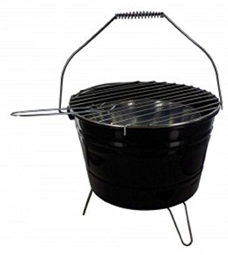 KnGLuv BBQ Bucket Compact Barbecue Charcoal Grill - Outdoor Patio Deck Camping Grilling Glamping