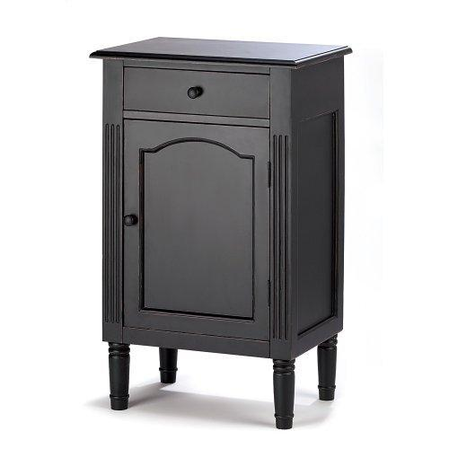 Koehler Home Office Bathroom Storage Antiqued Black Wood Storage Drawer Cabinet by Zingz & Thingz