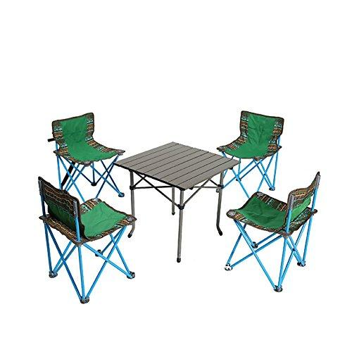 KOKR Camping Table with 4 Folding Chairs Set, for Outdoor Picnic Garden Kitchen Dining