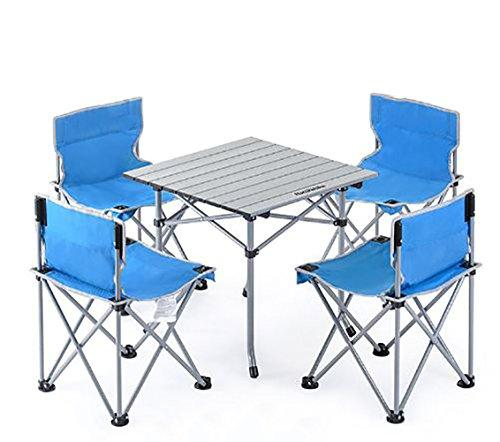 KOKR Folding Table 4 Chair Set, for Outdoor Picnic Camping Garden Kitchen Dining