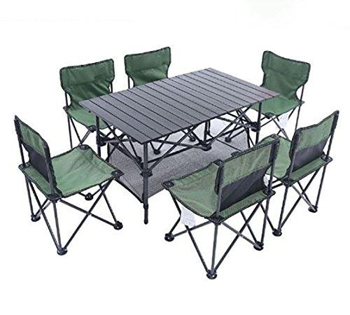 KOKR Folding Table Set, for Outdoor Picnic Camping Garden Kitchen Dining, Quick Set-Up, Opens in seconds (Six Chairs Included in the Set)
