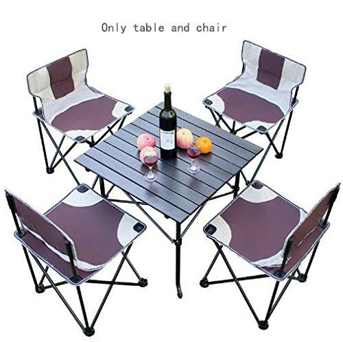 KOKR Portable Folding Camping Table with 4 Chairs Set, for Outdoor Camping Picnic Party BBQ Garden Kitchen Dining