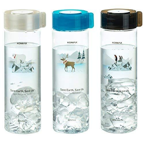 Komax Water and Juice Bottles 18.5oz 3 Pack - Lightweight and Portable, Travel Size - BPA Free, Unbreakable Tritan Plastic - Straw and Mouth Holes - Airtight Screw Cap - Freezer and Dishwasher Safe