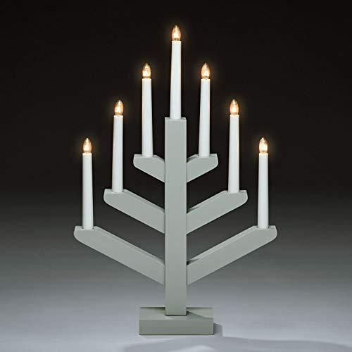 Konstsmide Wooden Candlestick with 7 Bulbs : Welcome Light Christmas Decoration : Grey : 3589-310