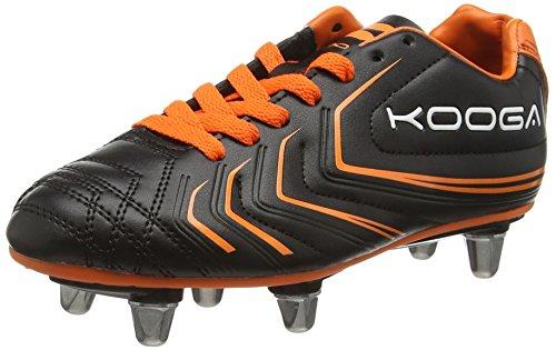 Kooga Boys' Warrior 2 Junior Rugby Boots, Black (Black/Orange), 3 UK 19 EU