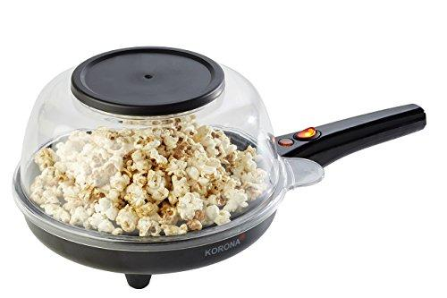 Korona Grey Popcorn and Crepe Maker – Cooking Plate for use as a Popcorn Machine with Lid, Crêpe Pan