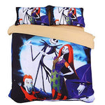 KTLRR Duvet Cover Sets Nightmare Before Christmas 3PCS Bedcloth with 2PCS Pillowcase No Comforter Gift for Kids(Double(200x200cm)