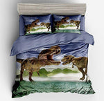"KTLRR Jurassic Dinosaur Duvet Cover Sets Single Size,Bedroom Decor 2PCS Bedding Set with 1 Pillowsham 100% Microfiber,Gifts for Boys Kids Teens Home Decortion (Single(70""x86"",2pcs)"