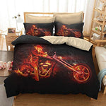 KTLRR Motorcycle Skull Duvet Cover Set 3PCS Bedding Set with 2 Pillow Shams No Comforter(Double)
