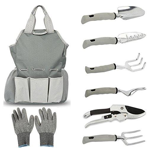 Kuke 8-Pack Portable Aluminium alloy Garden Tools Set with Trowel, Cultivator,TransPlanter,Rake and Weeder,Garden glove and Scissors,Garden Toolkit,Use in Flower Garden Planting and Seedling Culture
