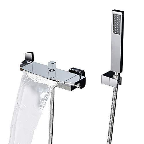 KunMai Wall Mount Waterfall 2-Handle Chrome/Black Bath Filler Mixer Tap with Hand Shower (Chrome)