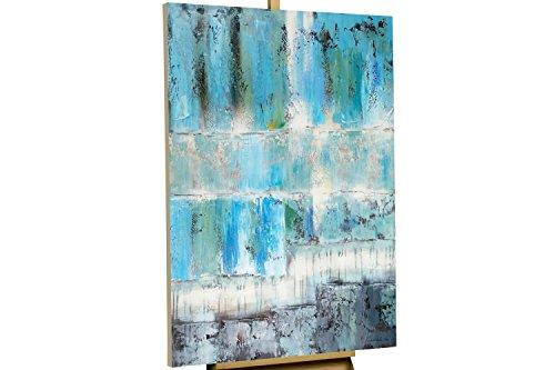 KunstLoft Painting 'Deep relaxation' 80x120cm | hand-painted canvas wall art | Abstract Turquoise & Petrol Blues artwork | Unique signed mural | Artistic Acrylic painting | Modern Art Picture