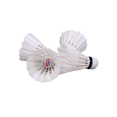 Kuqiqi Double Happiness Badminton, Three-stage, Resistant To King, 12 / Barrel, Stable Training, Durable, Not Easy To Smash, Goose Feather Ball, Duck Feather Ball Small size and fast speed