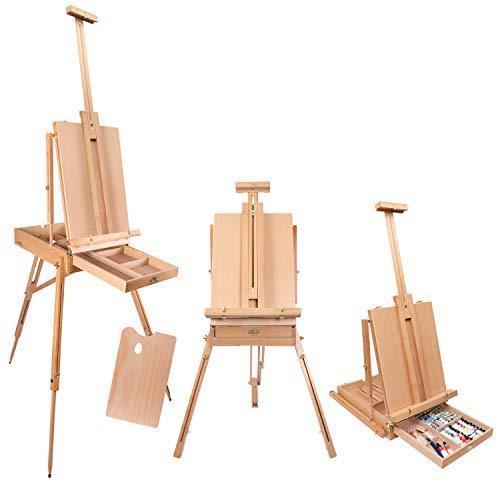 "Kurtzy Easel Stand - 182cm/ 72"" French Easel - Adjustable Foldable Large Wooden Tripod Easel for Artists with Storage Shelf and Pallete - Hold Canvas Upto 17.71"" - Ideal for Painting, Sketching and Drawing"