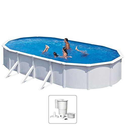 KWAD Swimming Pool Set Oval Steely Deluxe with Skimmer Set Winter Proof Outdoor Garden Patio Above Ground Water Play Centre 6.1x3.6x1.2m