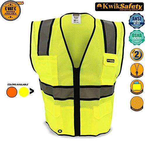 KwikSafety OFFICIAL | Class 2 Ultra Cool Safety Vest | 360° High Visibility Reflective Work Wear | Hi Viz Construction Cycling Motorbike Waistcoat | Men Women Regular to Oversized Fit | Yellow S/M