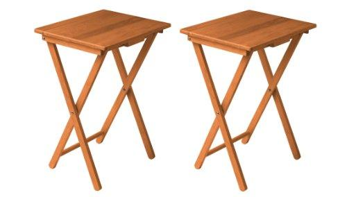 L-FENG-UK Set Of 2, Folding TV Table Ideal Tea Coffee Snacks Breakfast Lunch Dinner Games & Laptop Portable Table, Antique Pine Finish Tropical Hevea Wood