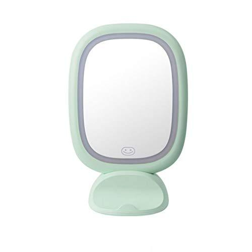 L-San Led Table Lamp Vanity Makeup Mirror with Lamp, Desktop Wall Mount Cosmetic Mirror USB Charging Large Portable Princess Dressing Mirror Bathroom Bedroom Home (color : GREEN)
