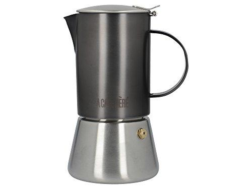 La Cafetière Edited Induction-Safe Stainless Steel Stovetop Espresso Maker, 200 ml (4 Cup) - Gun Metal