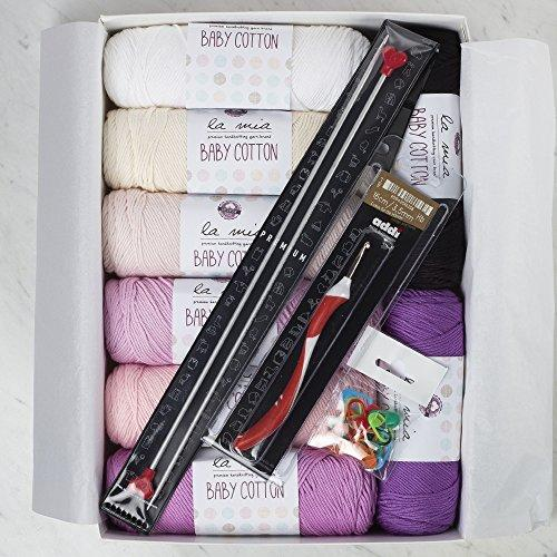La Mia Baby Cotton Gift Set - Lavender, 8 Skeins of Assorted Colors La Mia Baby Cotton Yarn, 50% Cotton 50% Acrylic, 100 g (3.5 oz) / 200 m (218 yds), Yarn Weight: 4 : Worsted-Aran - Lavender
