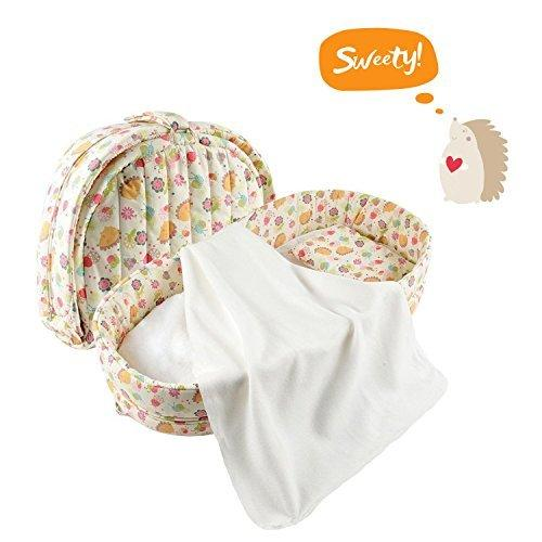 Labebe Baby 2 in 1 FOLD & GO Foldable Travel Bed/Bassinet Convertible to Diaper Changing MAT for Infants up to 1 Year, Washable Cover, Space Saving and Ideal Birthday Gift - Hedgehog