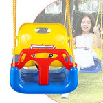 Laiozyen 3-in-1 Secure Swing Seats High Back Infant Toddler Children Playground Swing Set Accessories Replacement with Hooks (Blue)
