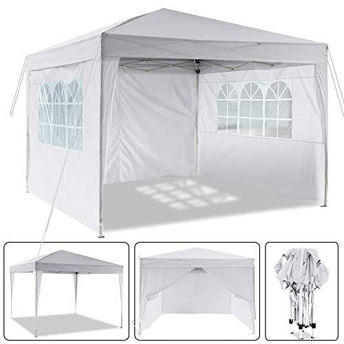 Laiozyen 3 x 3 m Waterproof Pop Up Gazebo Marquee Water Resistant Tent with Side Panels & Storage Bag for Outdoor Wedding Garden Party (White-3 x 3 m)