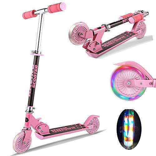 Laiozyen Foldable Kids Scooter with LED Light Up Wheels, Aluminum Alloy Adjustable Height Kick Scooter for Boys and Girls, 110lb Weight Capacity (Pink)
